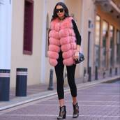 jacket,tumblr,pink,faux fur vest,fur vest,leggings,black leggings,boots,printed boots,ankle boots,mid heel boots,top,black top,bag,black bag,chain bag,sunglasses,black sunglasses,pants