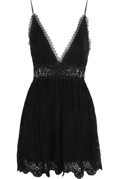 Zimmermann chiffon lace black silk romper