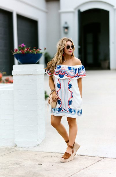 januaryhart blogger dress jewels bag shoes sunglasses off the shoulder dress wedges wedge sandals spring outfits