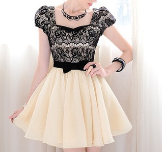 dress black creme lace bow fashion clothes outfit lace dress