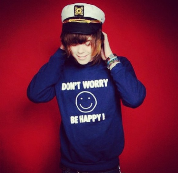 sweater crewneck cute blue sweater nevershoutnever happy hoodie christofer drew