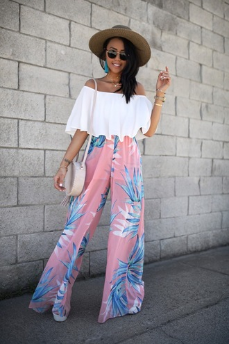 gypsytan blogger pants shoes dress romper round bag white blouse wide-leg pants spring outfits