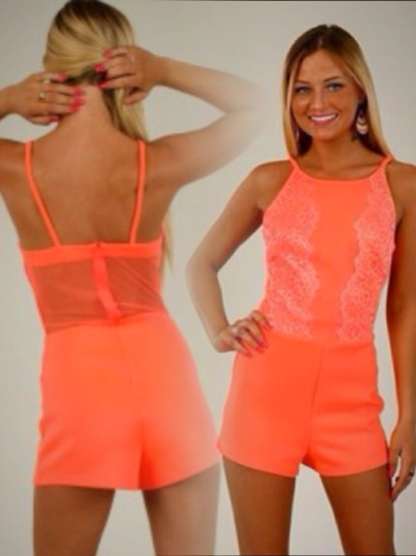jumpsuit celeb summer orange peach beautiful holidays lolli21 fashion shorts romper