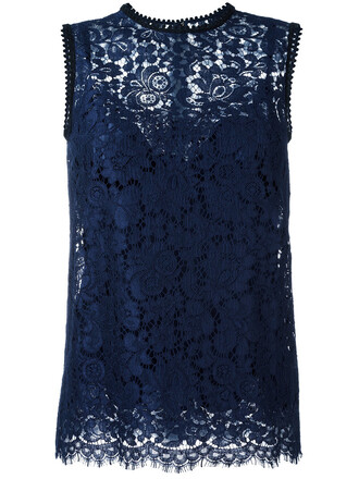 blouse sleeveless women lace cotton blue silk top