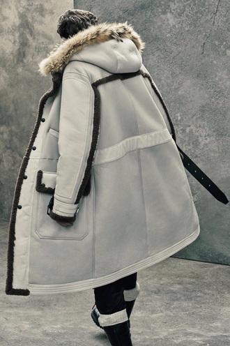 coat fur coat fur white black grey trendy kanye west