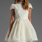 Alice   olivia fyona lace bodice party dress in off white from revolve.com