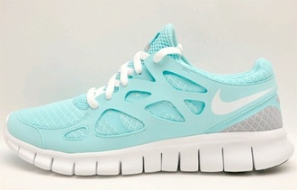 shoes nike nike shoes nike free run comfy blue blue shoes run white aqua nike sneakers sneakers running running shoes workout clothes tumblr weheartit high waisted shorts crop tops mint shoes nike running shoes running sneakers sportswear athletic nike frees just do it gre