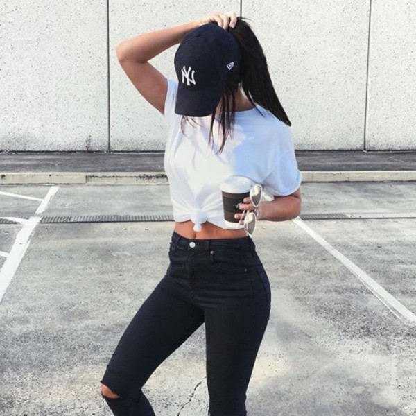 Hat new york city cap jeans ripped jeans high waisted ...