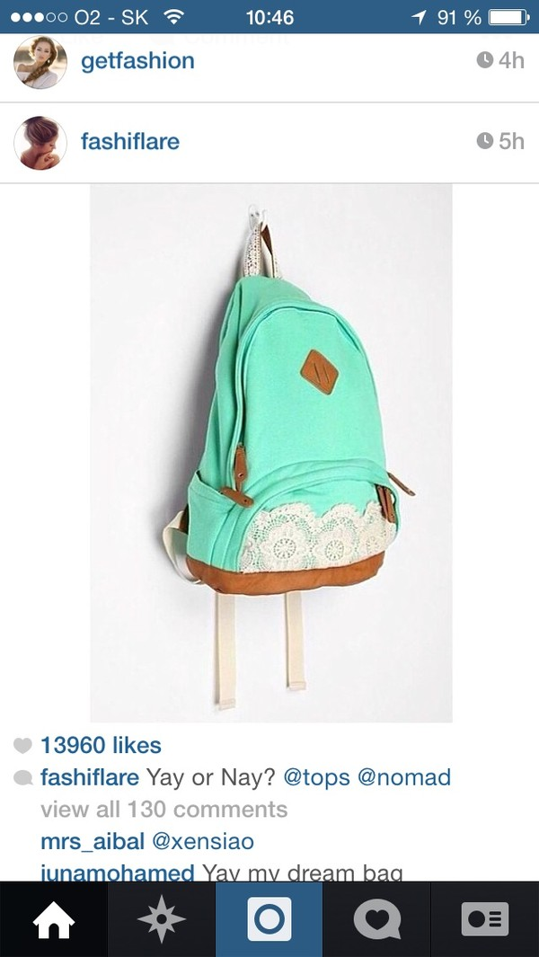 bag backpack turquoise lace