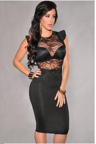 dress party dress black dress knee length lace dress ruffle mesh dress sexy club