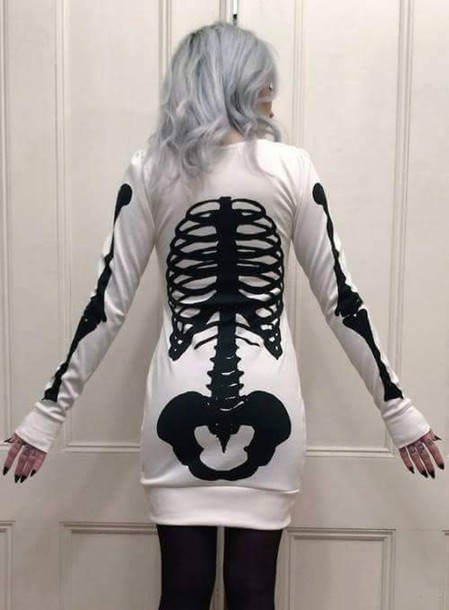 dress pastel goth skeleton gothic dress