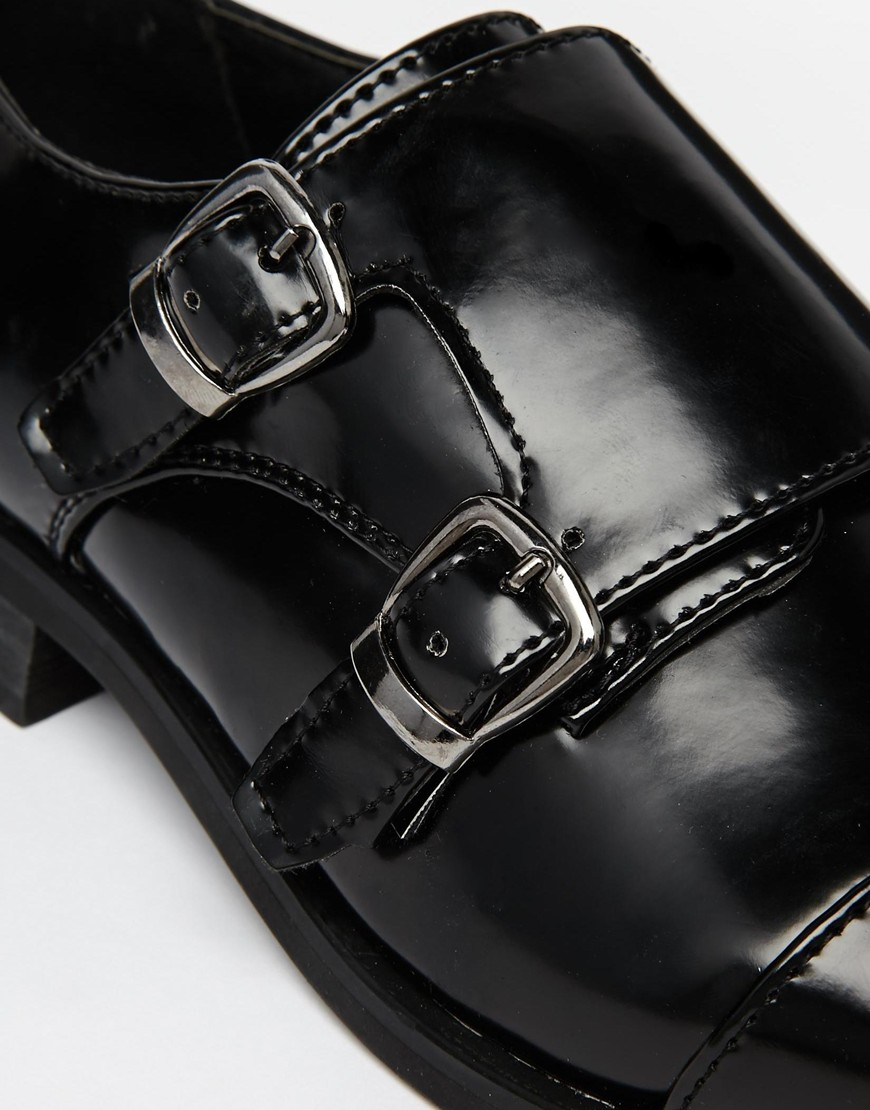 Truffle Flat Monk Buckle Shoes at asos.com
