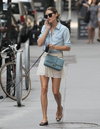 shoes printed ballerinas leopard print flats ballet flats animal print skirt white skirt mini skirt denim shirt shirt blue shirt bag blue bag shoulder bag sunglasses olivia palermo streetstyle leopard printed ballerinas