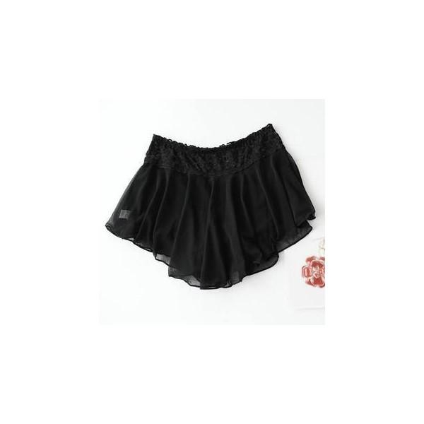 Lace-Waist Layered Chiffon Boy Shorts - Mini Jule - Polyvore