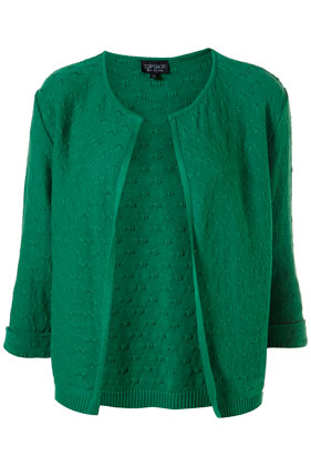 Knitted apple green stitch open cardigan