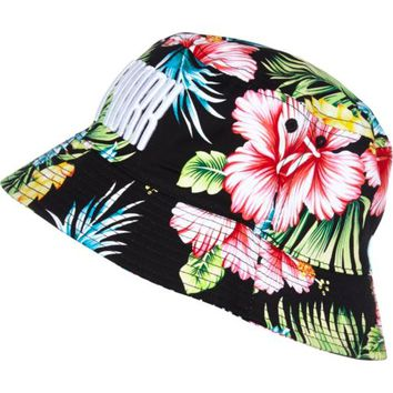 Black floral print New York bucket hat - hats - accessories - women on Wanelo
