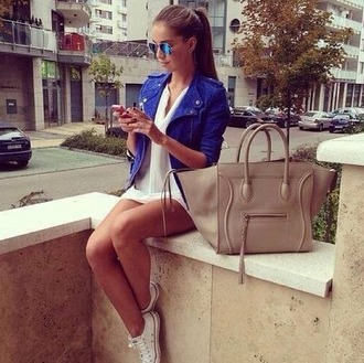 jacket blue blue jacket zipped jacket dress bag sunglasses nude bag converse white dress white aviator sunglasses blouse shorts