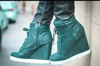 sneakers high top sneakers blue green wedge sneakers