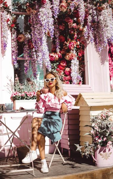 different cands blogger blouse skirt shoes bag pink top ruffled top denim skirt