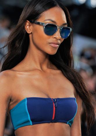blue summer outfits swimwear bikini sunglasses beach bikini top blue swimwear zipper runway two tone sexy