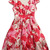 Red Short Sleeve Side Zipper Floral Dress - Sheinside.com