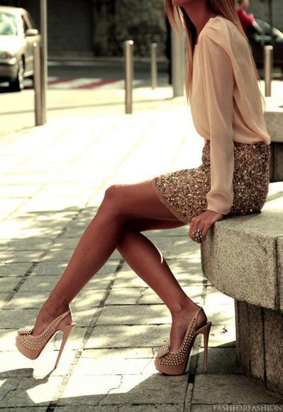 dress tan dress sparkly dress high heels skirt shoes sequin skirt cream blouse blouse