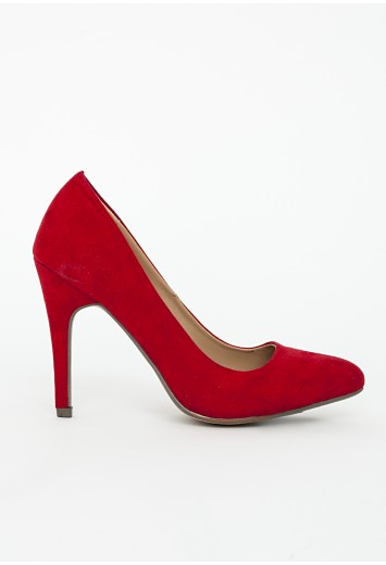 Faux suede heeled shoe red