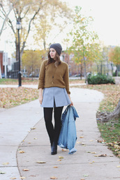 orchid grey,blogger,tights,fall outfits,denim jacket