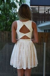 dress,white,lace,short,lace dress,open back,summer dress,white  buttons,cute dress,ivory,cut-out dress,cut-out,white dress,amazing,beautiful,dressy,prom dress,sad,Bow Back Dress,summer,open back dresses,white short dress,pretty back,cute,pretty,backless white dress,short dress,floral,tips?,backless,skater dress,white skater dress,backless dress,white lace dress,cute outfits,summer outfits,graduation dresses,cool girl style,sleeveless dress,short/mini,lace dress white short,Xenia