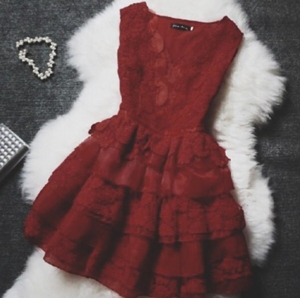 Dress Dark Red Lace V Neck Short Formal Formal Dress