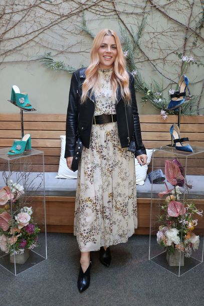 dress jacket busy philipps floral floral dress midi dress biker jacket fall outfits fall dress belt