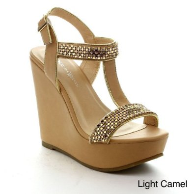 01 women's ankle strap wedge platform high heel sandal: shoes