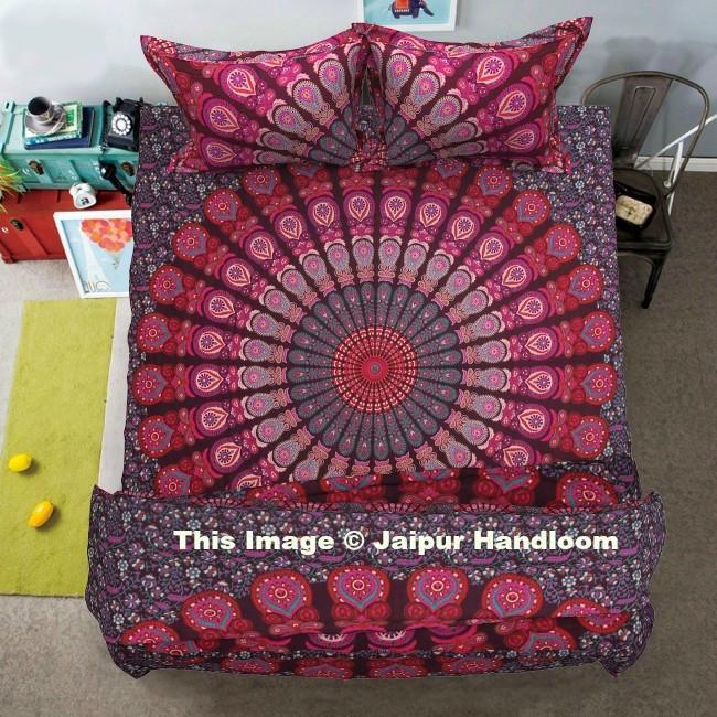 Indian Peacock Mandala Queen Duvet Quilt Cover With Bed Sheet & 2 Pillow Slip Boho