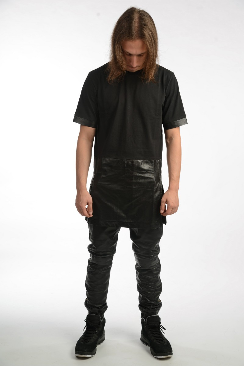 Leather Panel T-Shirt