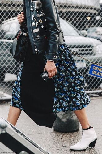 dress floral dress boho boho chic collage vintage leather jacket pins white boots ankle boots streetstyle embellished leather jacket