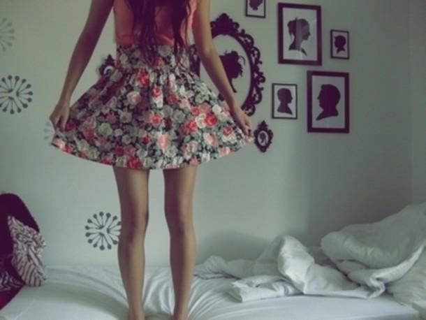 skirt flowers pink girly floral skirt coral shirt long hair