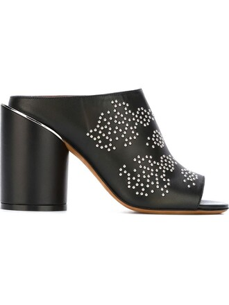 studded open mules black shoes