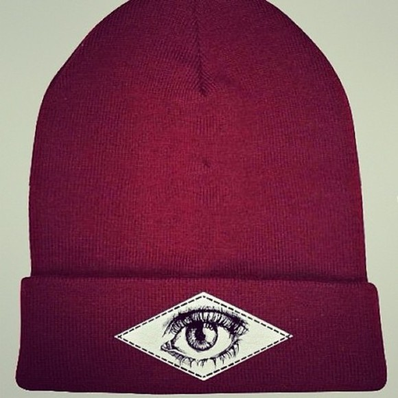 streetstyle hat eye art red beanie red artist beanie hipster skater drawings