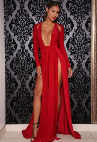 dress girl girly girly wishlist maxi maxi dress red sexy red dress sexy dress side split prom dress mermaid prom dress long prom dress red prom dress sexy prom dress long sleeve dress