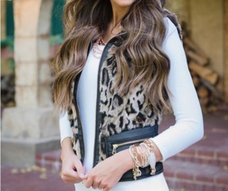 jacket leopard print vest faux fur leather