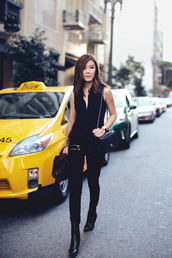tsangtastic,blogger,all black everything,black top,top,jeans,jacket,jewels,shoes,bag