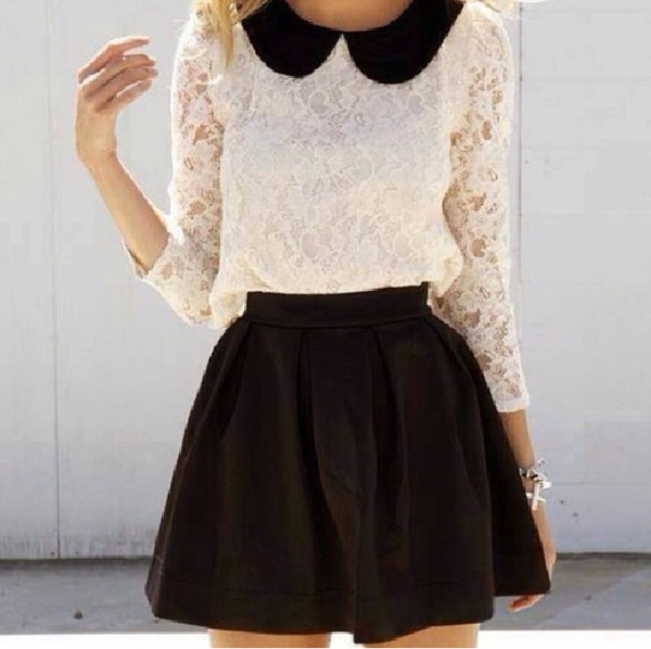 blouse uniform blouse black and white skirt black skirt white blouse lace lace blouse peter pan collar cute girly girl girly girl