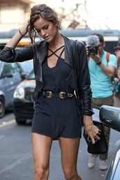 dress,izabel goulart,model,jumpsuit,belt,cool,grey dress,french,summer,cowboy,leather belt,black,straps,leather jacket,jacket,little black dress,alessandra ambrosio,metal gold waist belt,waist belt,sexy,blackjumpsuit,cross over,black leather jacket,perfect street look,short black dress