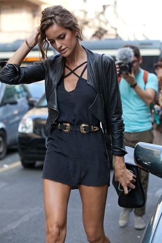 dress izabel goulart model jumpsuit belt cool grey dress french summer cowboy leather belt black little black dress alessandra ambrosio leather jacket metal gold waist belt waist belt jacket black leather jacket