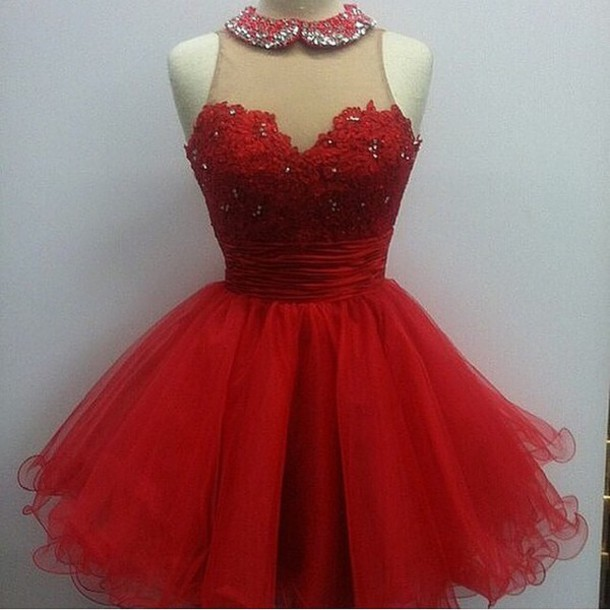 dress poofy short dress lace top collared dress