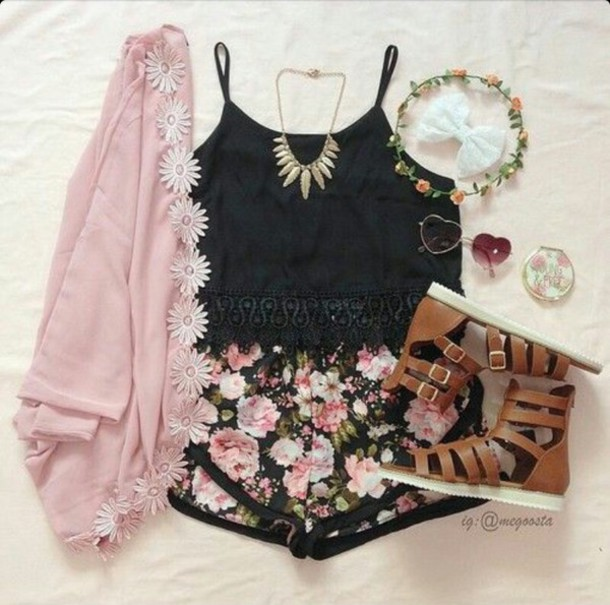 cardigan tank top shorts shoes outfit black sunglasses hair accessory jewels jacket shirt flowered shorts mini shorts
