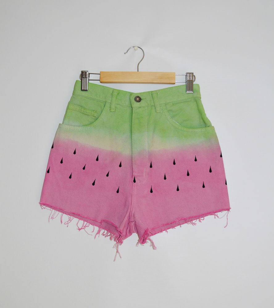 Hipster High Waist Summer Denim Shorts Tie Dye DIP Dye 'Watermelon' Size UK 6 | eBay