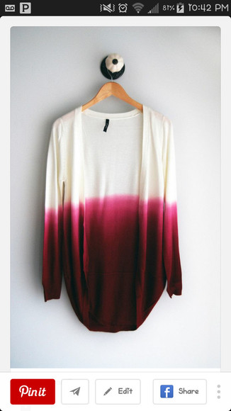 cardigan white cardigan ombre pink cardigan burgundy burgundy sweater rose red