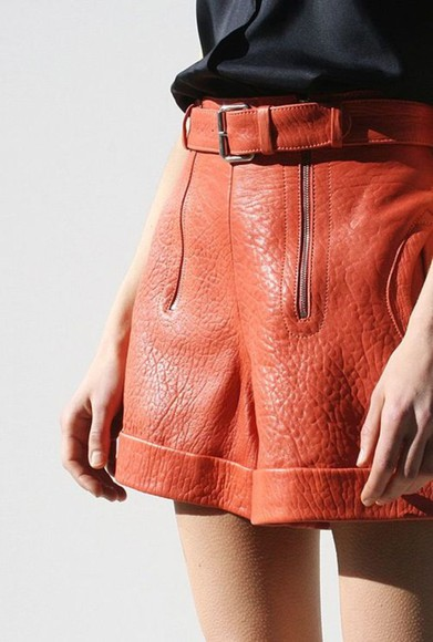 color block shorts orange