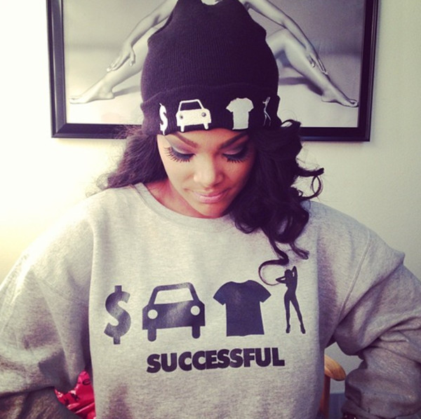 sweater hat successful jumper bad girls club grey beanie blouse money car fashion summer shirt